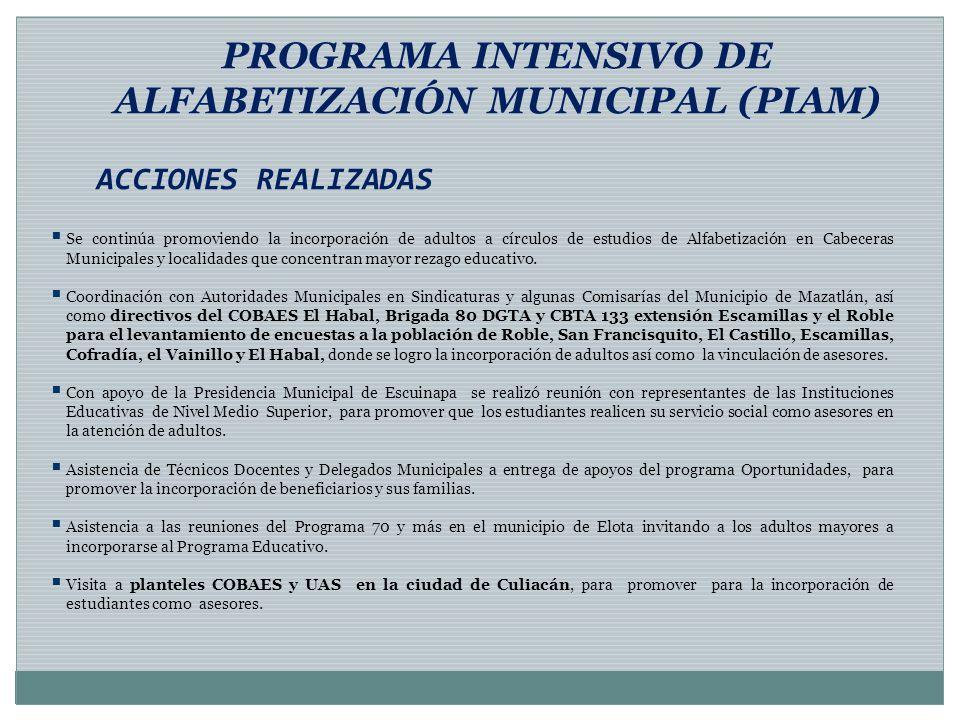 PROGRAMA INTENSIVO DE ALFABETIZACIÓN MUNICIPAL (PIAM) ACCIONES REALIZADAS Se continúa promoviendo la incorporación de adultos a círculos de estudios d