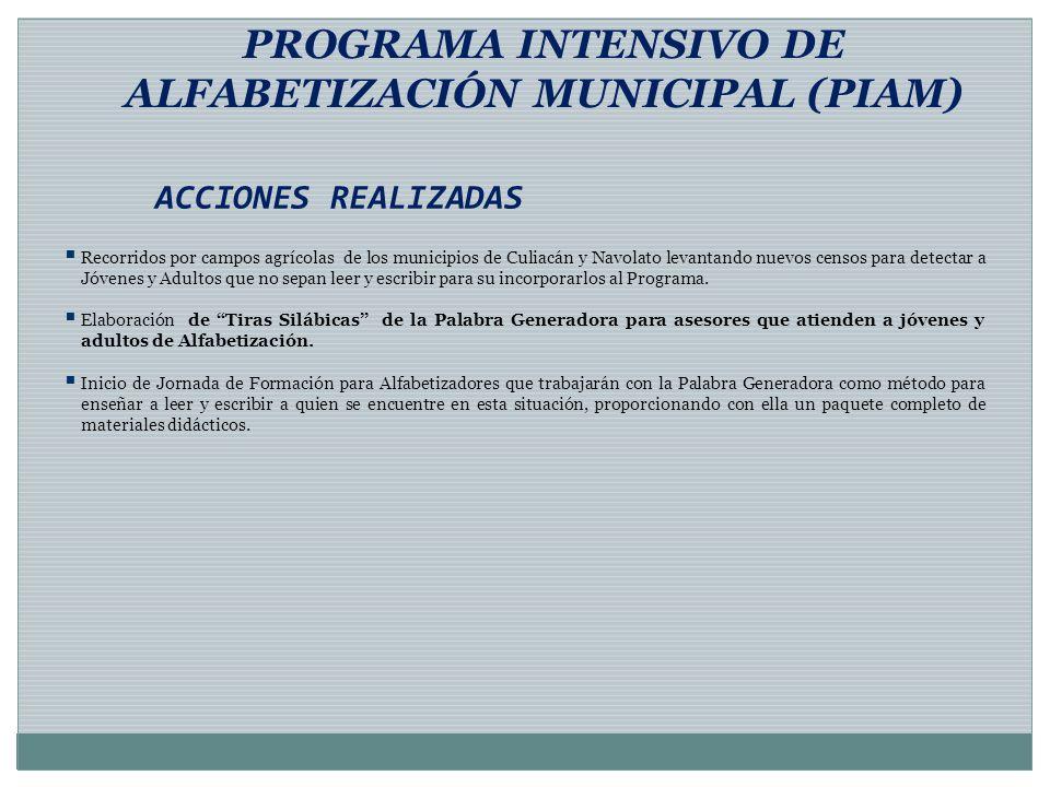 ACCIONES REALIZADAS PROGRAMA INTENSIVO DE ALFABETIZACIÓN MUNICIPAL (PIAM) Recorridos por campos agrícolas de los municipios de Culiacán y Navolato lev