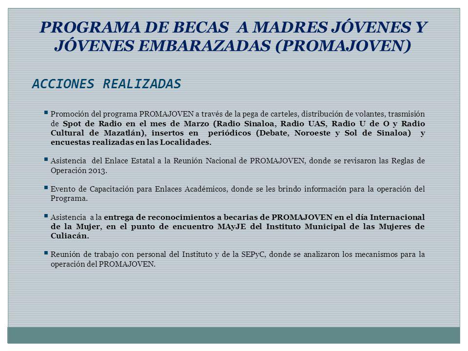 PROGRAMA DE BECAS A MADRES JÓVENES Y JÓVENES EMBARAZADAS (PROMAJOVEN) Promoción del programa PROMAJOVEN a través de la pega de carteles, distribución