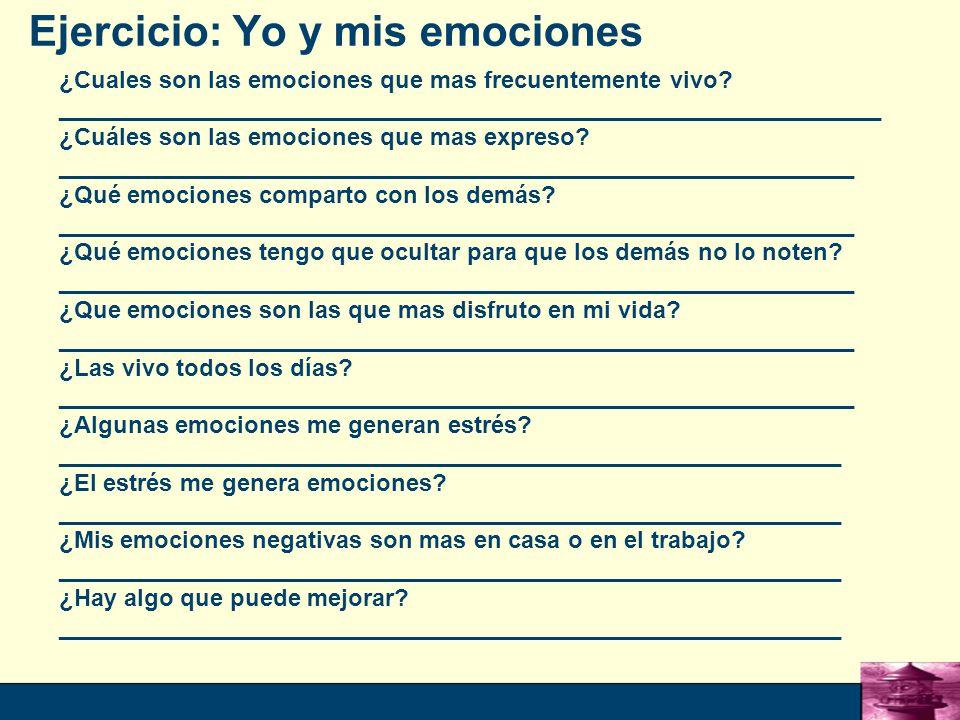 12 Ejercicio: Yo y mis emociones ¿Cuales son las emociones que mas frecuentemente vivo.
