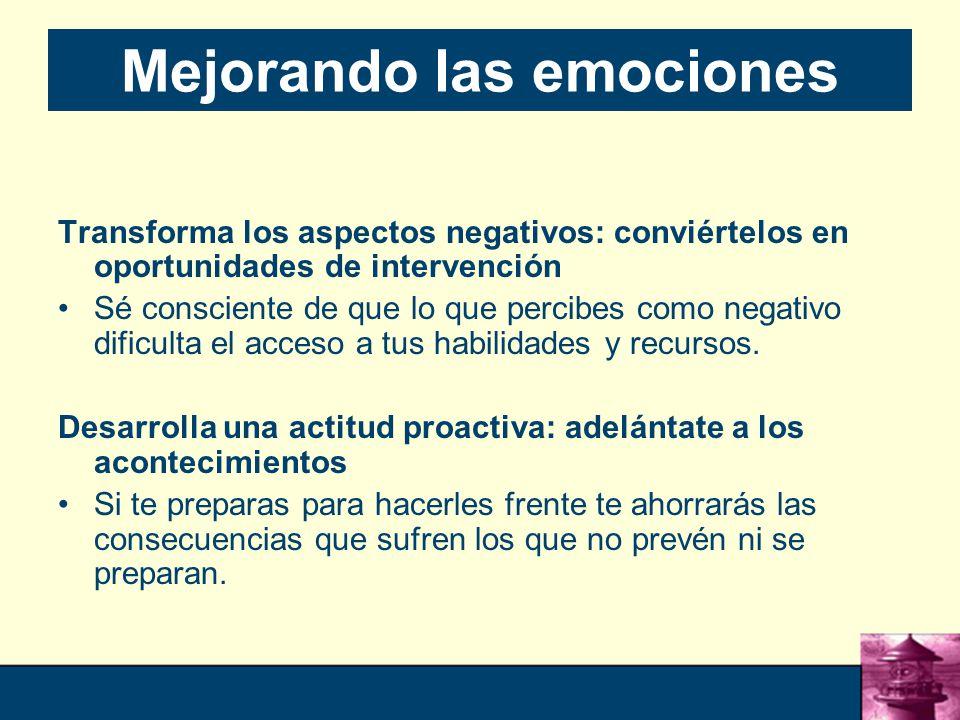 57 Mejorando las emociones Transforma los aspectos negativos: conviértelos en oportunidades de intervención Sé consciente de que lo que percibes como negativo dificulta el acceso a tus habilidades y recursos.