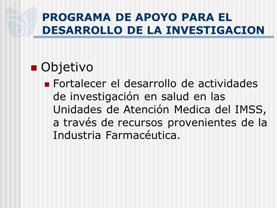 PROGRAMA DE APOYO PARA EL DESARROLLO DE LA INVESTIGACION Objetivo Fortalecer el desarrollo de actividades de investigación en salud en las Unidades de