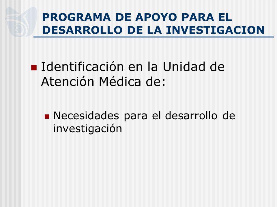 PROGRAMA DE APOYO PARA EL DESARROLLO DE LA INVESTIGACION Identificación en la Unidad de Atención Médica de: Necesidades para el desarrollo de investigación