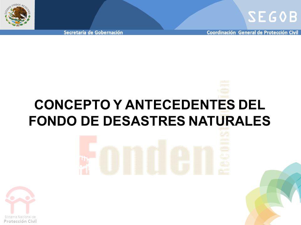 SEGOB Sistema Nacional de Protección Civil CONCEPTO Y ANTECEDENTES DEL FONDO DE DESASTRES NATURALES