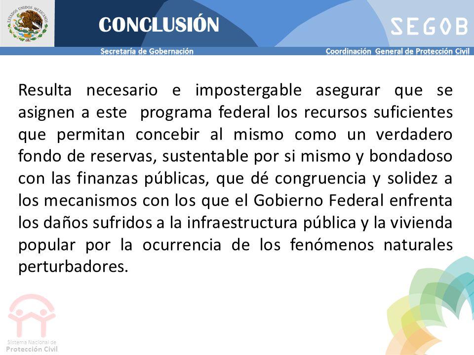 SEGOB Sistema Nacional de Protección Civil CONCLUSIÓN Resulta necesario e impostergable asegurar que se asignen a este programa federal los recursos s