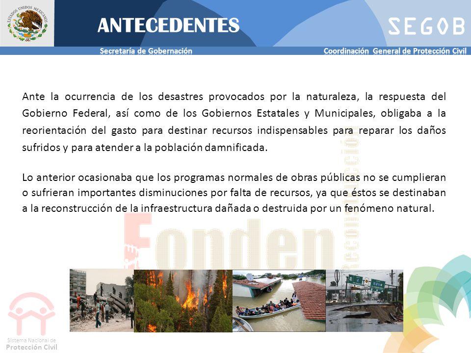 SEGOB Sistema Nacional de Protección Civil ANTECEDENTES Ante la ocurrencia de los desastres provocados por la naturaleza, la respuesta del Gobierno Fe