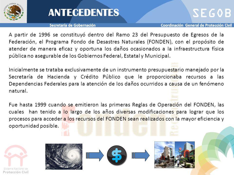 SEGOB Sistema Nacional de Protección Civil A partir de 1996 se constituyó dentro del Ramo 23 del Presupuesto de Egresos de la Federación, el Programa