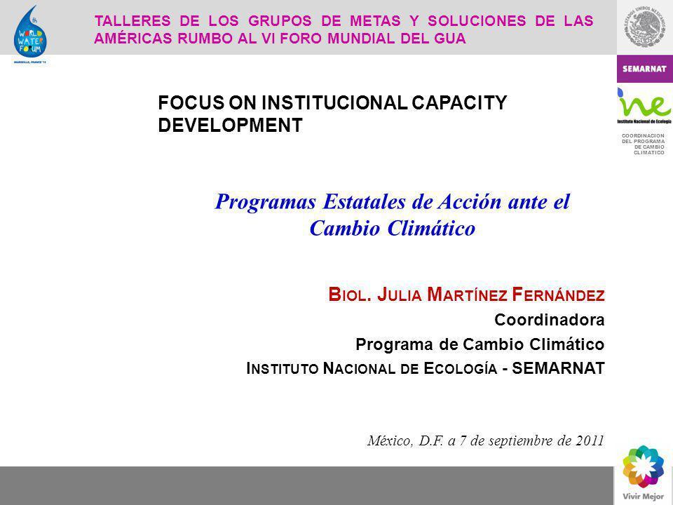 COORDINACION DEL PROGRAMA DE CAMBIO CLIMATICO B IOL. J ULIA M ARTÍNEZ F ERNÁNDEZ Coordinadora Programa de Cambio Climático I NSTITUTO N ACIONAL DE E C