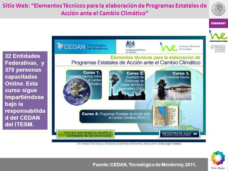 COORDINACION DEL PROGRAMA DE CAMBIO CLIMATICO Sitio Web: Elementos Técnicos para la elaboración de Programas Estatales de Acción ante el Cambio Climát