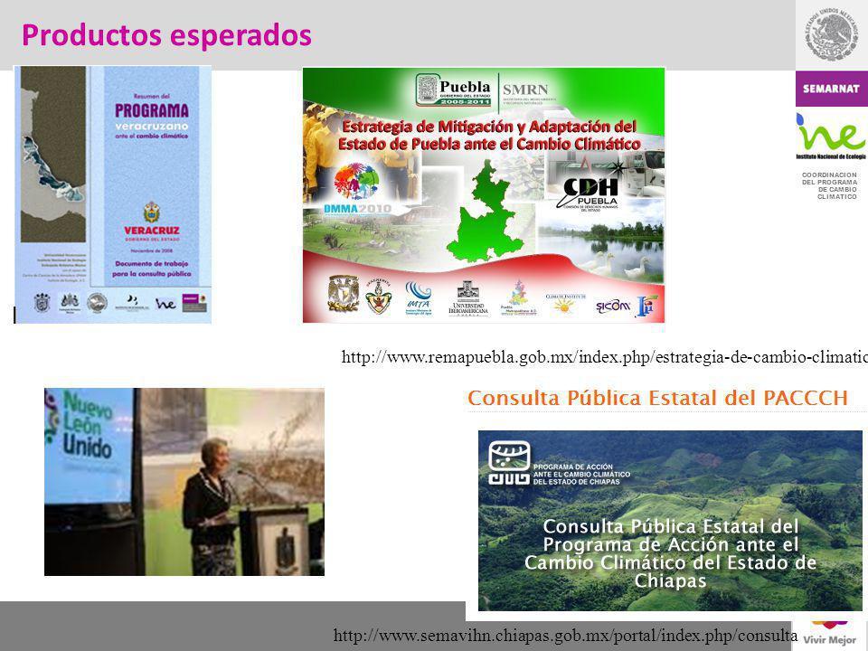 COORDINACION DEL PROGRAMA DE CAMBIO CLIMATICO Productos esperados http://www.semavihn.chiapas.gob.mx/portal/index.php/consulta http://www.remapuebla.g