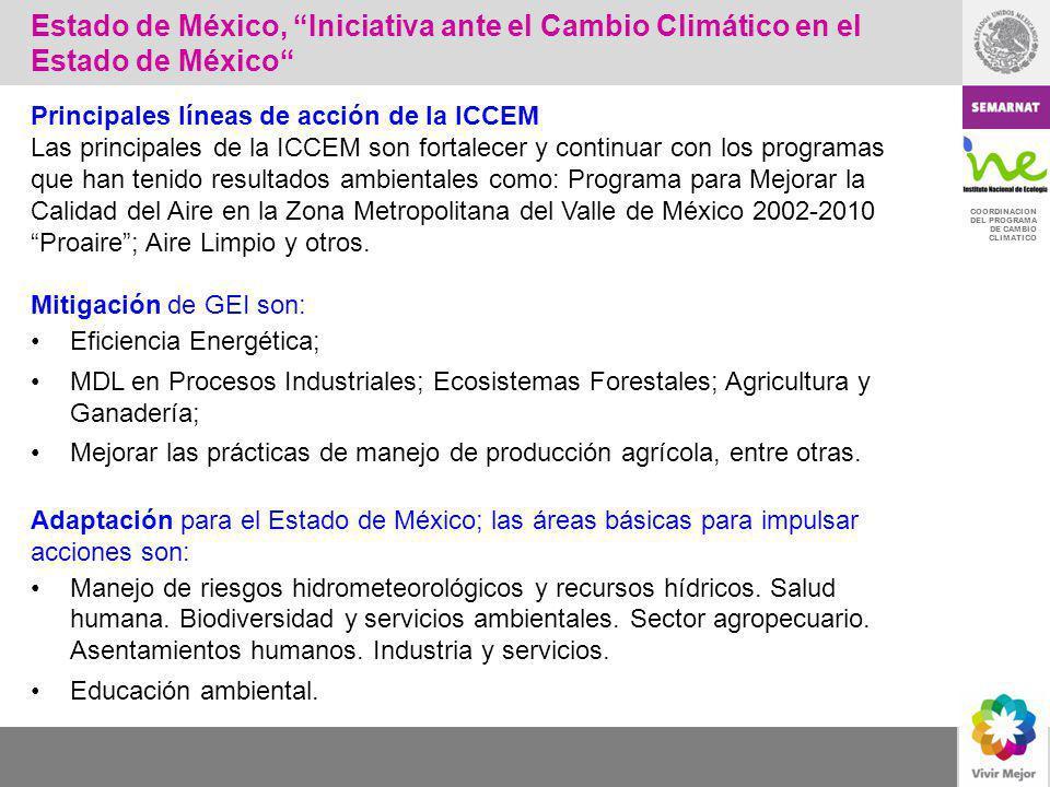 COORDINACION DEL PROGRAMA DE CAMBIO CLIMATICO Principales líneas de acción de la ICCEM Las principales de la ICCEM son fortalecer y continuar con los