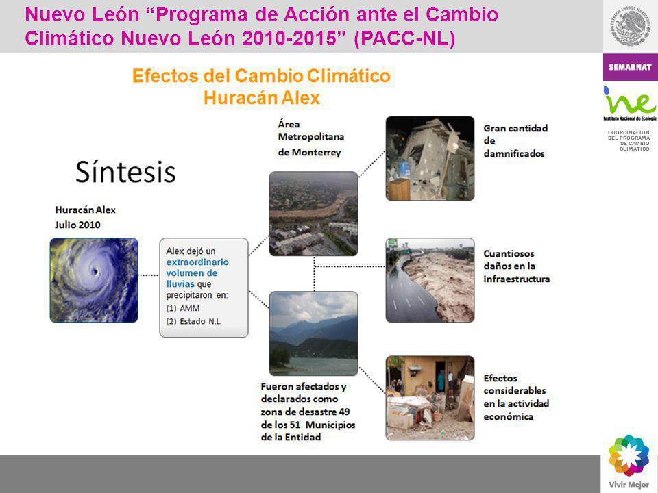 COORDINACION DEL PROGRAMA DE CAMBIO CLIMATICO Nuevo León Programa de Acción ante el Cambio Climático Nuevo León 2010-2015 (PACC-NL)