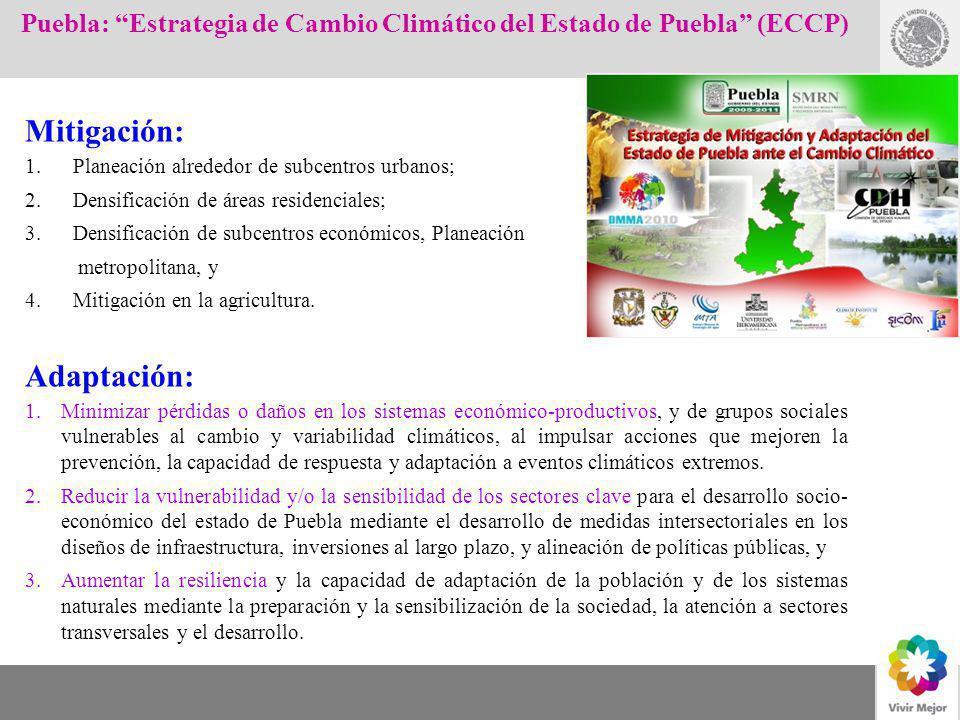 COORDINACION DEL PROGRAMA DE CAMBIO CLIMATICO Mitigación: 1.Planeación alrededor de subcentros urbanos; 2.Densificación de áreas residenciales; 3.Dens