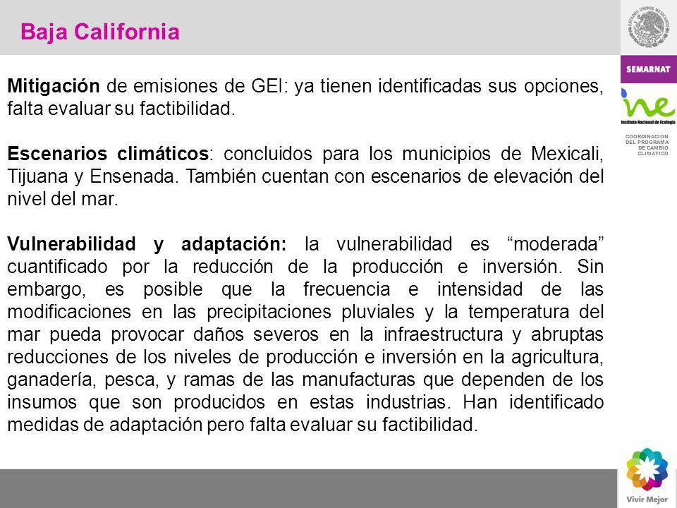 COORDINACION DEL PROGRAMA DE CAMBIO CLIMATICO Mitigación de emisiones de GEI: ya tienen identificadas sus opciones, falta evaluar su factibilidad. Esc