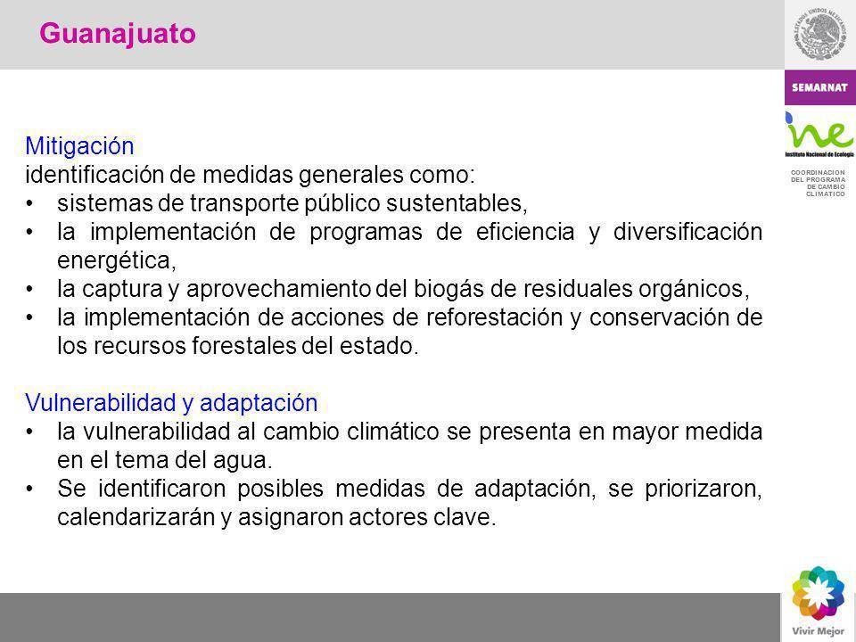 COORDINACION DEL PROGRAMA DE CAMBIO CLIMATICO Mitigación identificación de medidas generales como: sistemas de transporte público sustentables, la imp