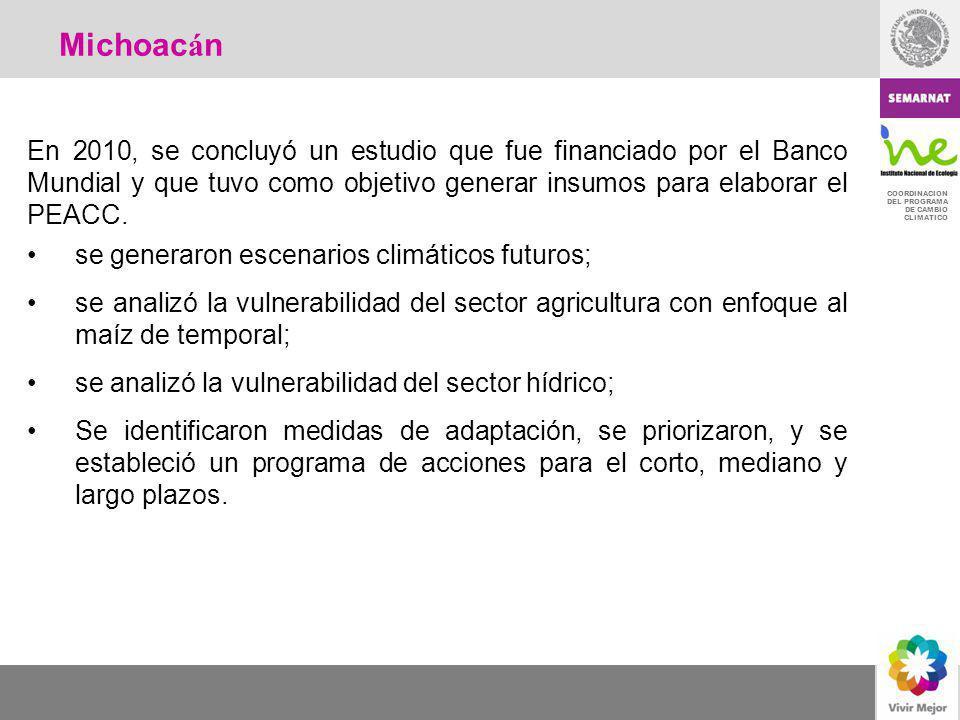 COORDINACION DEL PROGRAMA DE CAMBIO CLIMATICO En 2010, se concluyó un estudio que fue financiado por el Banco Mundial y que tuvo como objetivo generar