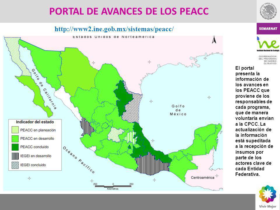 COORDINACION DEL PROGRAMA DE CAMBIO CLIMATICO PORTAL DE AVANCES DE LOS PEACC El portal presenta la información de los avances en los PEACC que provien
