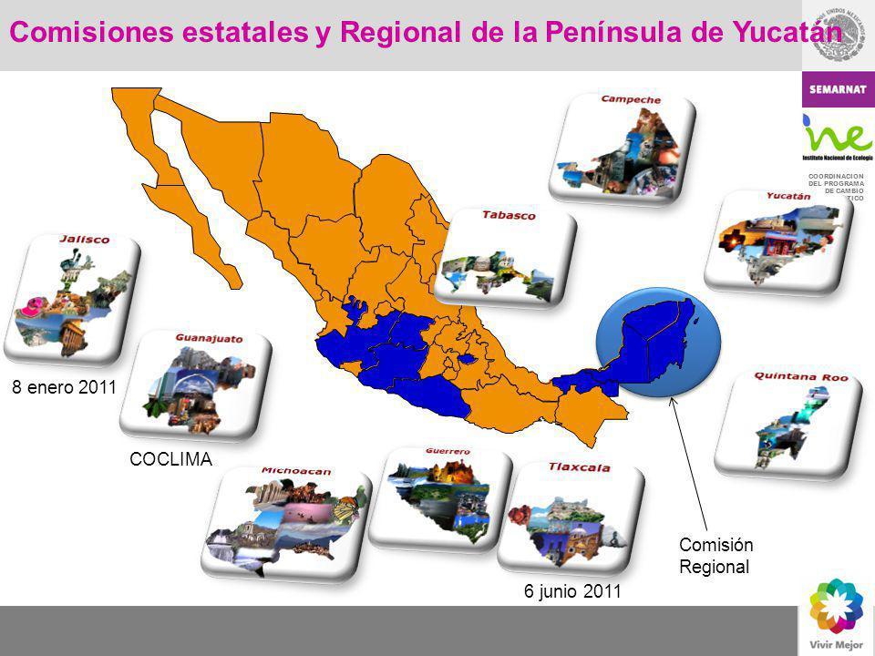 COORDINACION DEL PROGRAMA DE CAMBIO CLIMATICO Comisiones estatales y Regional de la Península de Yucatán COCLIMA 6 junio 2011 8 enero 2011 Comisión Re