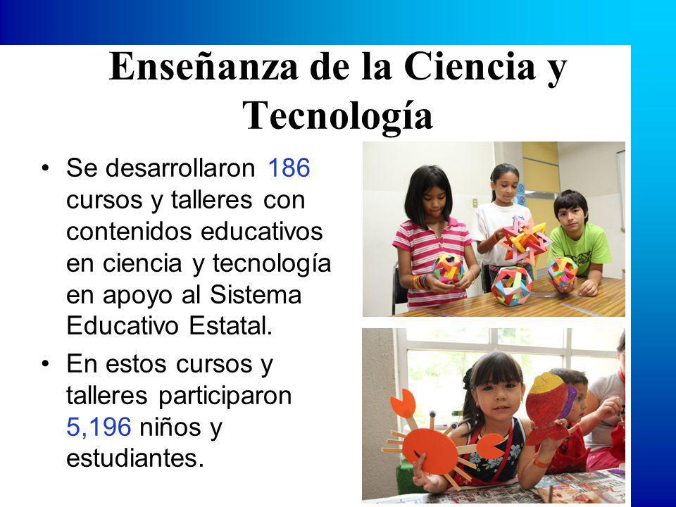 Enseñanza de la Ciencia y Tecnología Se desarrollaron 186 cursos y talleres con contenidos educativos en ciencia y tecnología en apoyo al Sistema Educativo Estatal.