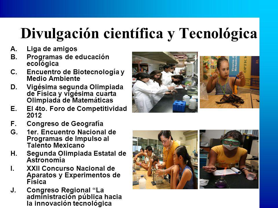 Divulgación científica y Tecnológica A.Liga de amigos B.Programas de educación ecológica C.Encuentro de Biotecnología y Medio Ambiente D.Vigésima segunda Olimpiada de Física y vigésima cuarta Olimpiada de Matemáticas E.El 4to.