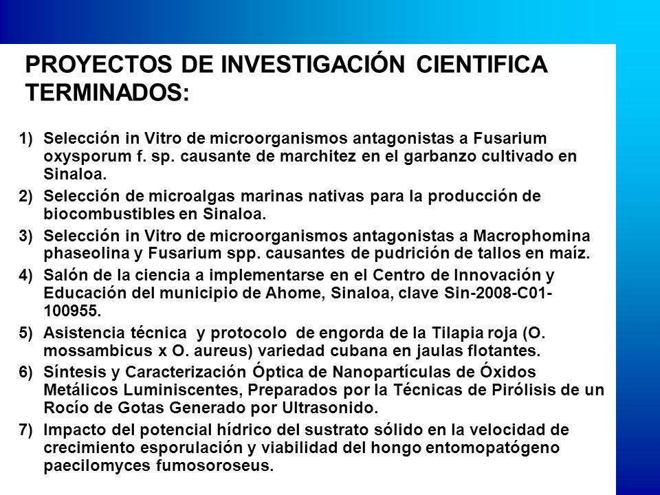 PROYECTOS DE INVESTIGACIÓN CIENTIFICA TERMINADOS: 1)Selección in Vitro de microorganismos antagonistas a Fusarium oxysporum f.