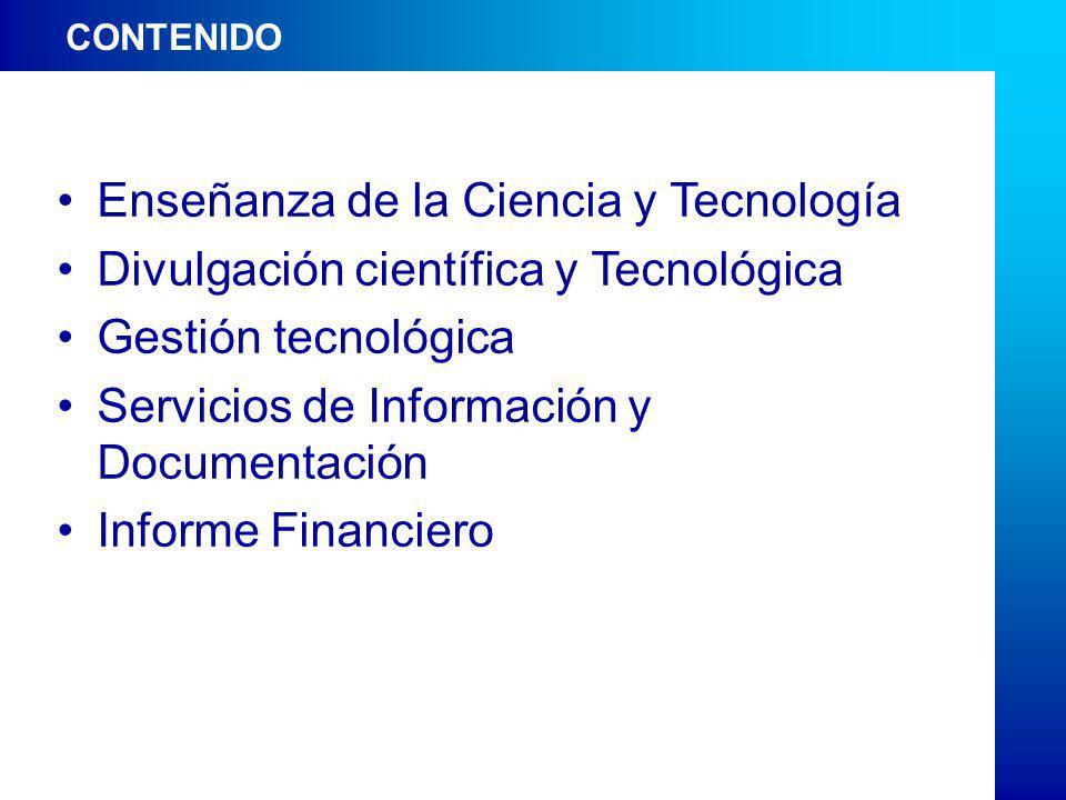 CONTENIDO Enseñanza de la Ciencia y Tecnología Divulgación científica y Tecnológica Gestión tecnológica Servicios de Información y Documentación Informe Financiero CONTENIDO