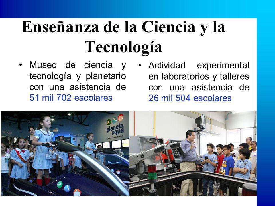 Enseñanza de la Ciencia y la Tecnología Museo de ciencia y tecnología y planetario con una asistencia de 51 mil 702 escolares Actividad experimental en laboratorios y talleres con una asistencia de 26 mil 504 escolares
