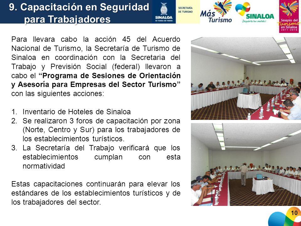 Para llevara cabo la acción 45 del Acuerdo Nacional de Turismo, la Secretaría de Turismo de Sinaloa en coordinación con la Secretaria del Trabajo y Pr