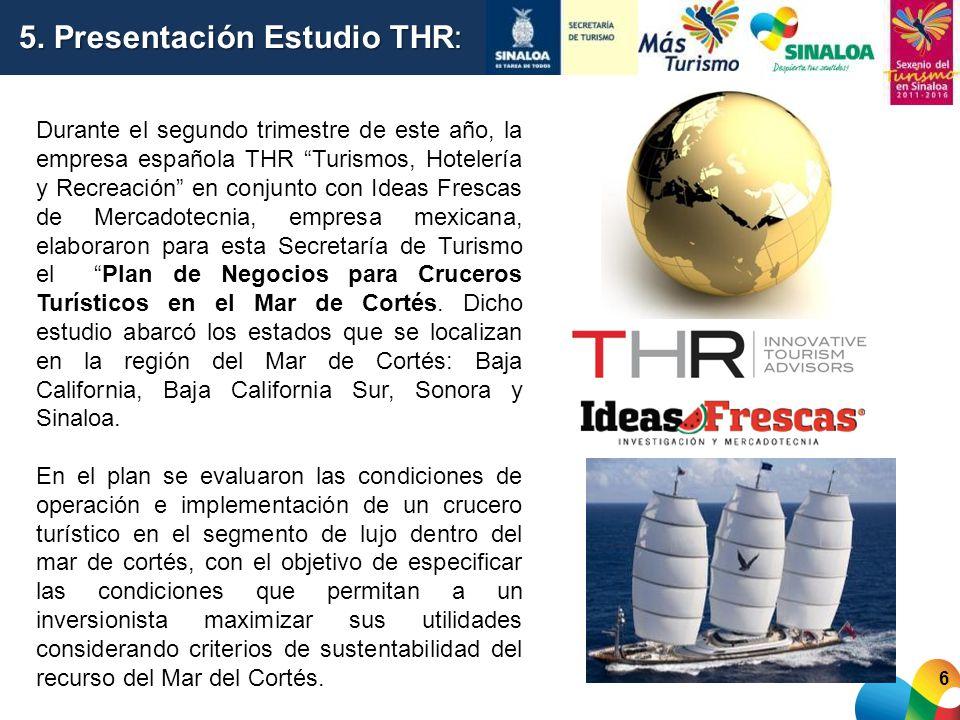 6 5. Presentación Estudio THR: Durante el segundo trimestre de este año, la empresa española THR Turismos, Hotelería y Recreación en conjunto con Idea