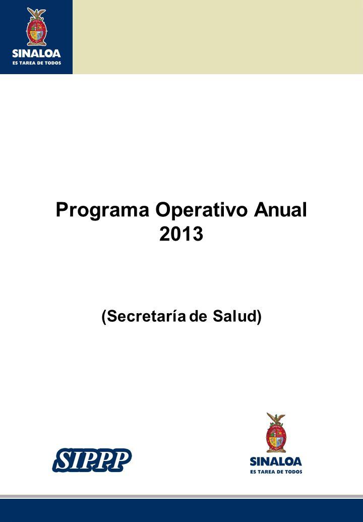 Sistema Integral de Planeación, Programación y Presupuestación del Gasto Público Proceso para el Ejercicio Fiscal del año 2013 Programa Operativo Anual 2013 (Secretaría de Salud)