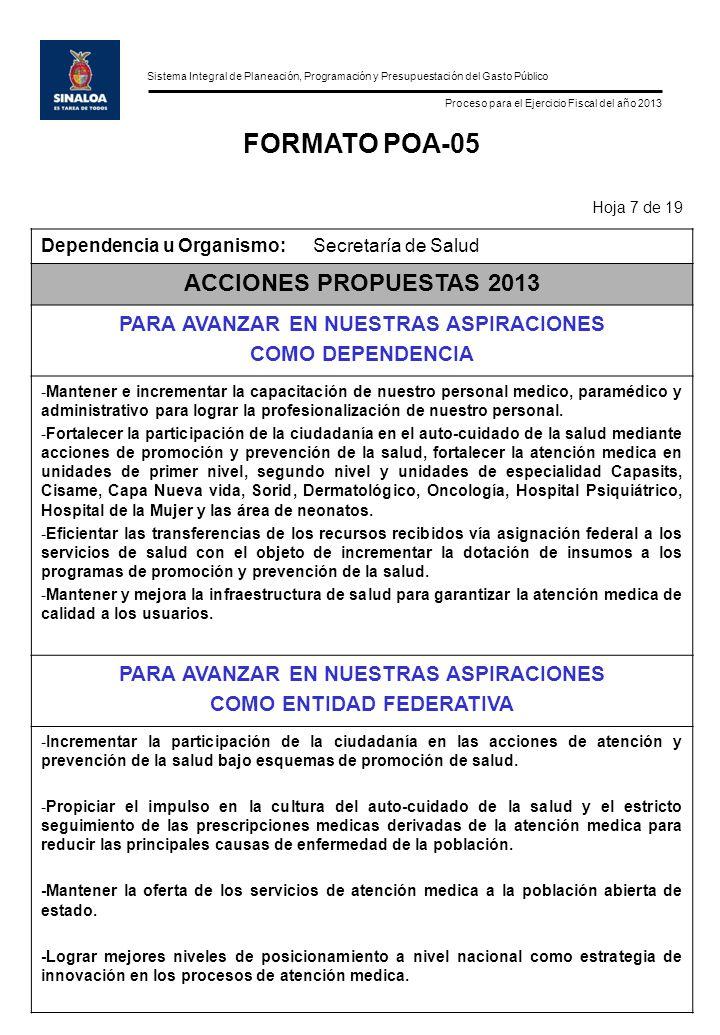 Sistema Integral de Planeación, Programación y Presupuestación del Gasto Público Proceso para el Ejercicio Fiscal del año 2013 FORMATO POA-05 Hoja 7 d