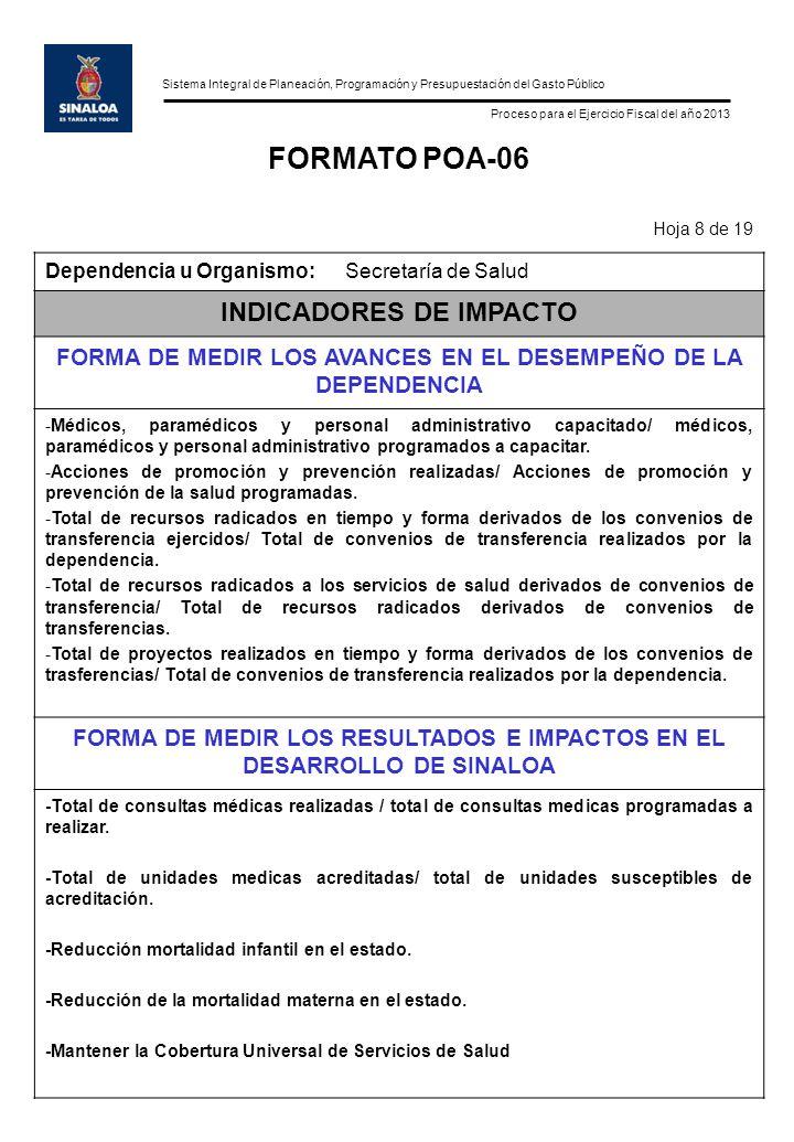 Sistema Integral de Planeación, Programación y Presupuestación del Gasto Público Proceso para el Ejercicio Fiscal del año 2013 FORMATO POA-06 Hoja 8 d
