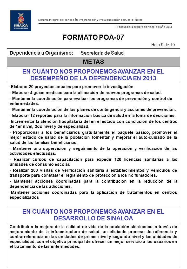 Sistema Integral de Planeación, Programación y Presupuestación del Gasto Público Proceso para el Ejercicio Fiscal del año 2013 FORMATO POA-07 Hoja 9 d