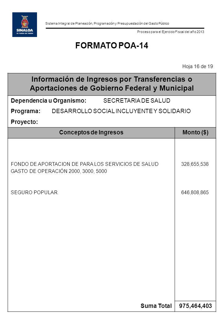 Sistema Integral de Planeación, Programación y Presupuestación del Gasto Público Proceso para el Ejercicio Fiscal del año 2013 FORMATO POA-14 Hoja 16
