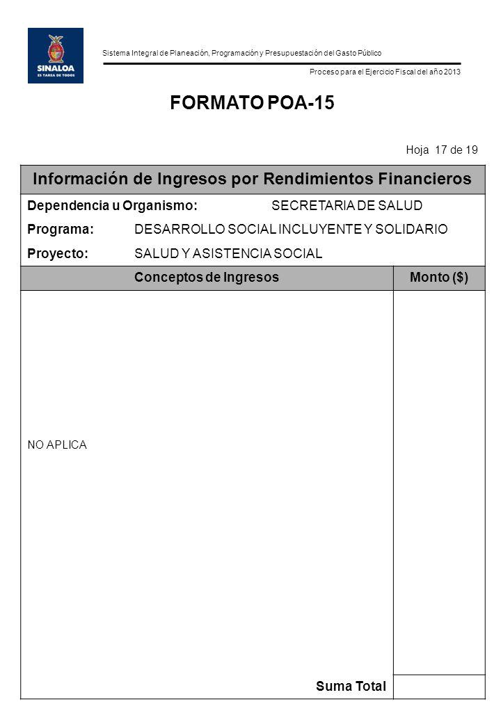 Sistema Integral de Planeación, Programación y Presupuestación del Gasto Público Proceso para el Ejercicio Fiscal del año 2013 FORMATO POA-15 Hoja 17 de 19 Información de Ingresos por Rendimientos Financieros Dependencia u Organismo:SECRETARIA DE SALUD Programa:DESARROLLO SOCIAL INCLUYENTE Y SOLIDARIO Proyecto:SALUD Y ASISTENCIA SOCIAL Conceptos de IngresosMonto ($) NO APLICA Suma Total