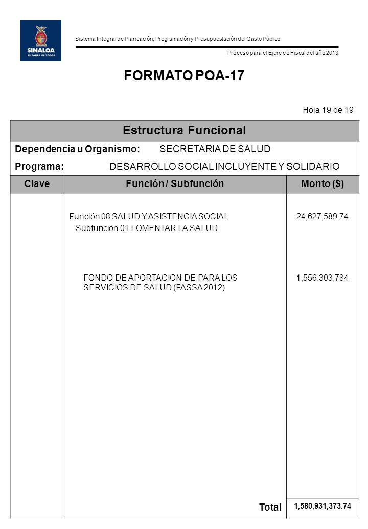 Sistema Integral de Planeación, Programación y Presupuestación del Gasto Público Proceso para el Ejercicio Fiscal del año 2013 FORMATO POA-17 Hoja 19