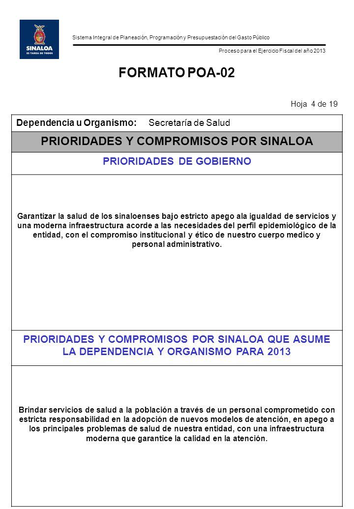 Sistema Integral de Planeación, Programación y Presupuestación del Gasto Público Proceso para el Ejercicio Fiscal del año 2013 FORMATO POA-02 Hoja 4 d
