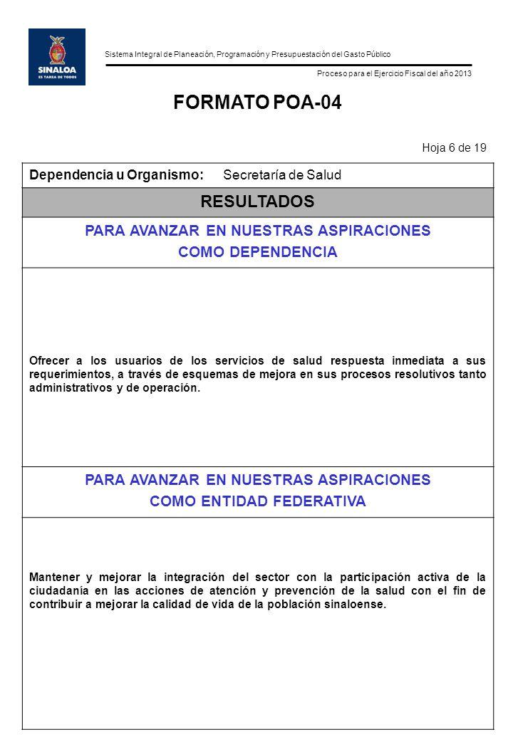 Sistema Integral de Planeación, Programación y Presupuestación del Gasto Público Proceso para el Ejercicio Fiscal del año 2013 FORMATO POA-04 Hoja 6 d