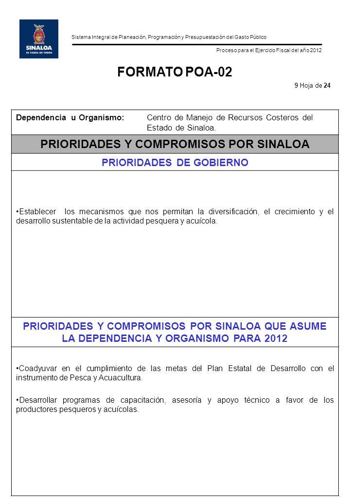 Sistema Integral de Planeación, Programación y Presupuestación del Gasto Público Proceso para el Ejercicio Fiscal del año 2012 FORMATO POA-02 Dependencia u Organismo:Centro de Manejo de Recursos Costeros del Estado de Sinaloa.