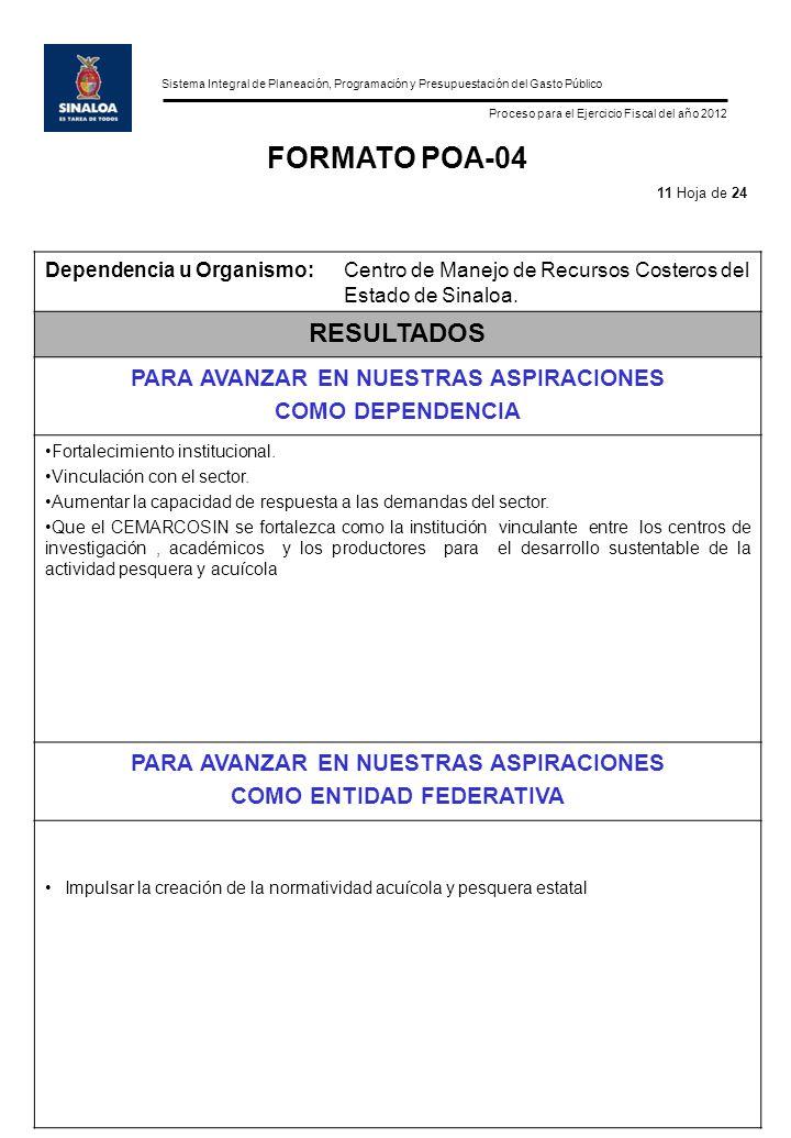 Sistema Integral de Planeación, Programación y Presupuestación del Gasto Público Proceso para el Ejercicio Fiscal del año 2012 FORMATO POA-04 Dependencia u Organismo:Centro de Manejo de Recursos Costeros del Estado de Sinaloa.