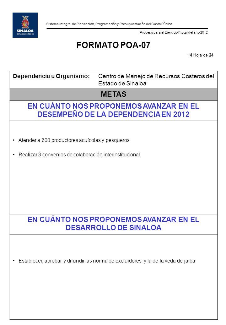 Sistema Integral de Planeación, Programación y Presupuestación del Gasto Público Proceso para el Ejercicio Fiscal del año 2012 FORMATO POA-07 Dependen