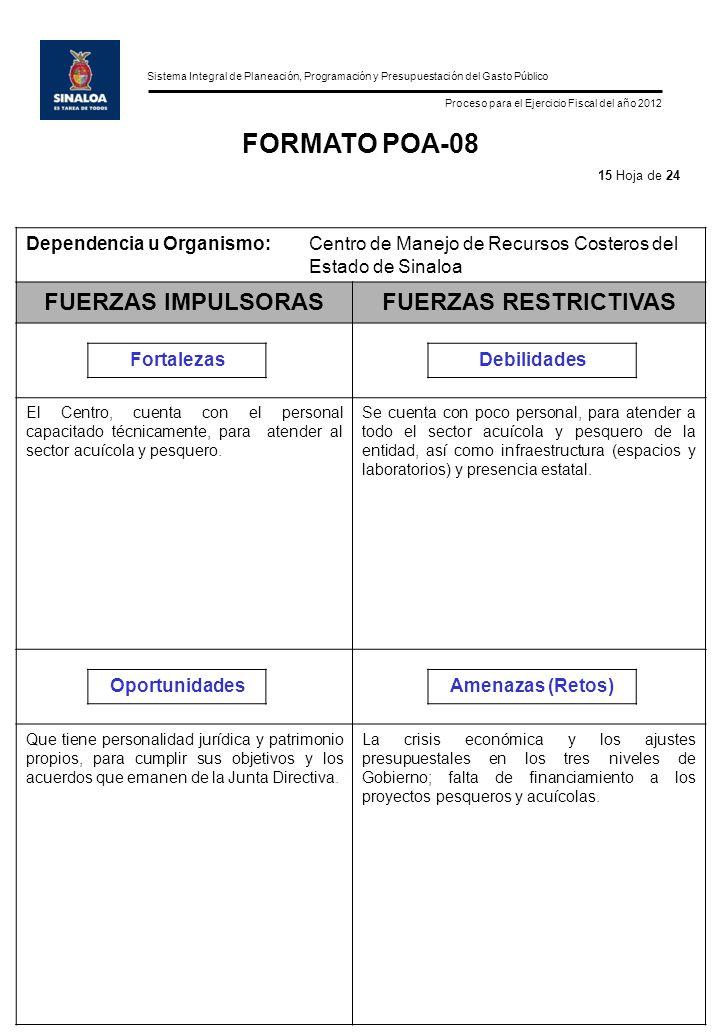 Sistema Integral de Planeación, Programación y Presupuestación del Gasto Público Proceso para el Ejercicio Fiscal del año 2012 FORMATO POA-08 Dependen