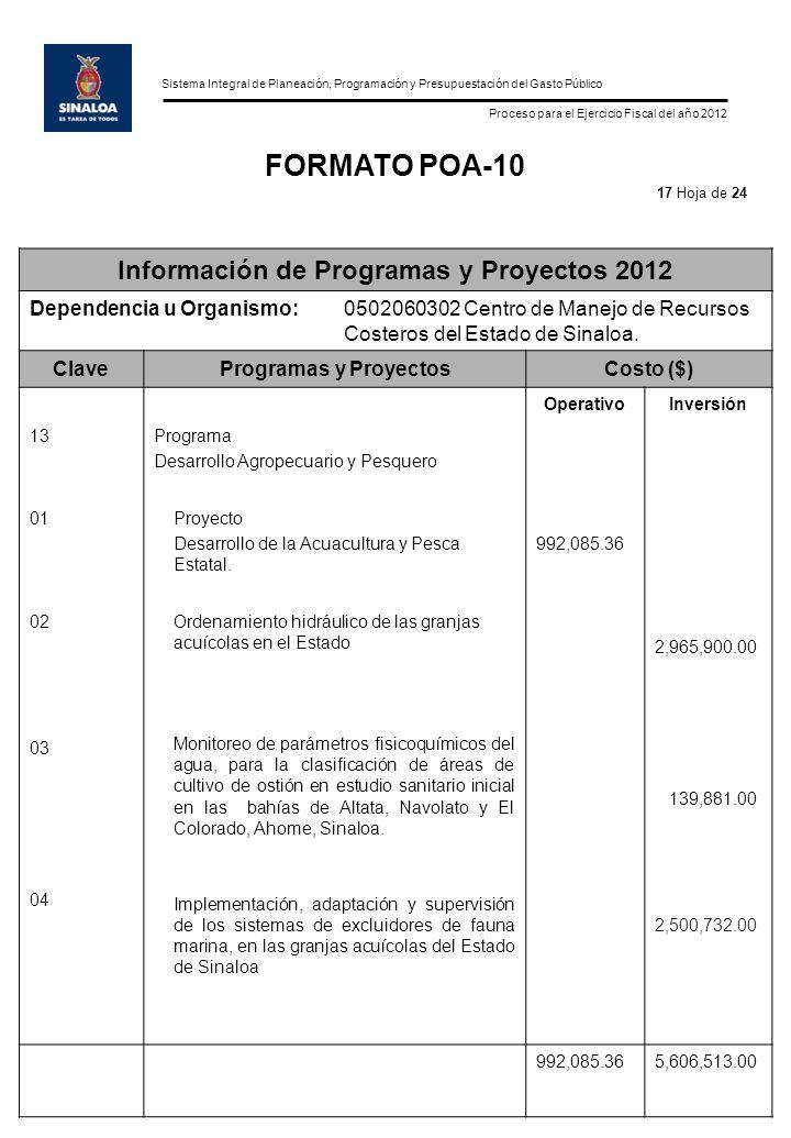 Sistema Integral de Planeación, Programación y Presupuestación del Gasto Público Proceso para el Ejercicio Fiscal del año 2012 FORMATO POA-10 Información de Programas y Proyectos 2012 Dependencia u Organismo:0502060302 Centro de Manejo de Recursos Costeros del Estado de Sinaloa.
