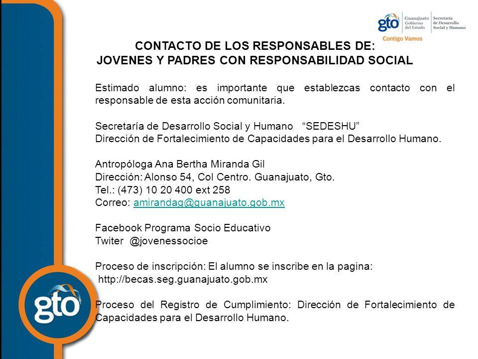 CONTACTO DE LOS RESPONSABLES DE: JOVENES Y PADRES CON RESPONSABILIDAD SOCIAL Estimado alumno: es importante que establezcas contacto con el responsable de esta acción comunitaria.