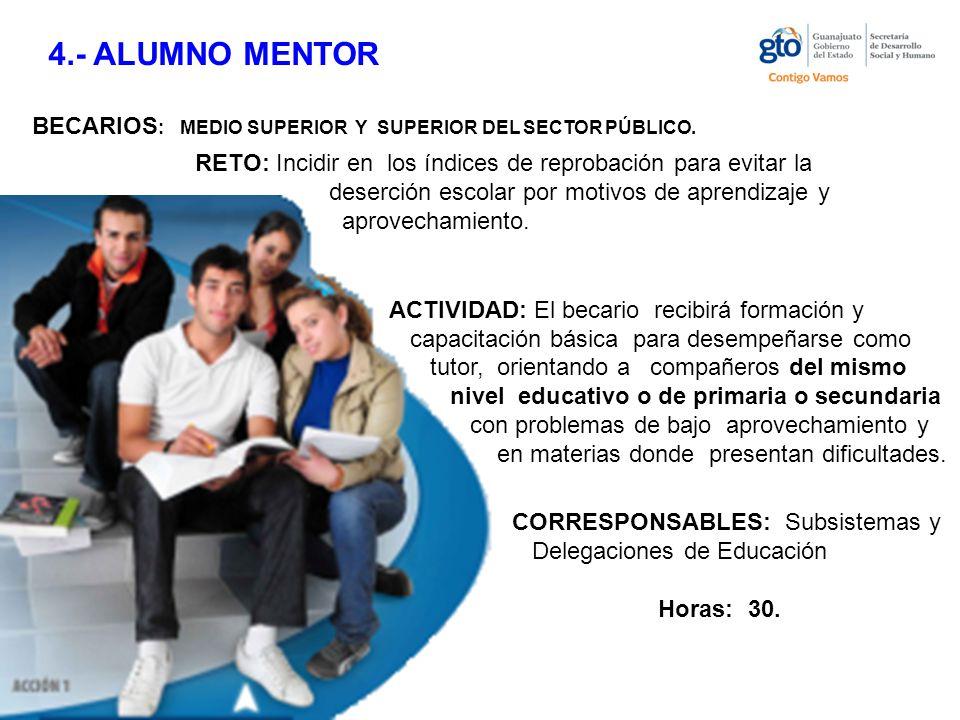 4.- ALUMNO MENTOR BECARIOS : MEDIO SUPERIOR Y SUPERIOR DEL SECTOR PÚBLICO.