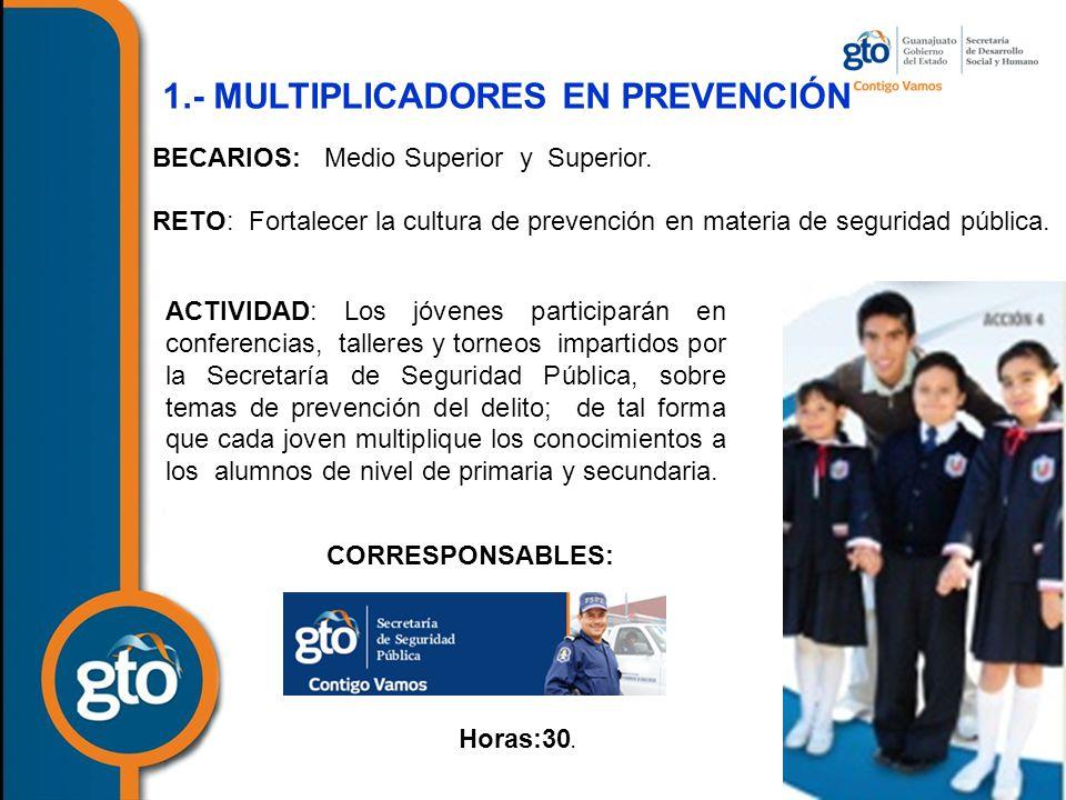 1.- MULTIPLICADORES EN PREVENCIÓN BECARIOS: Medio Superior y Superior.