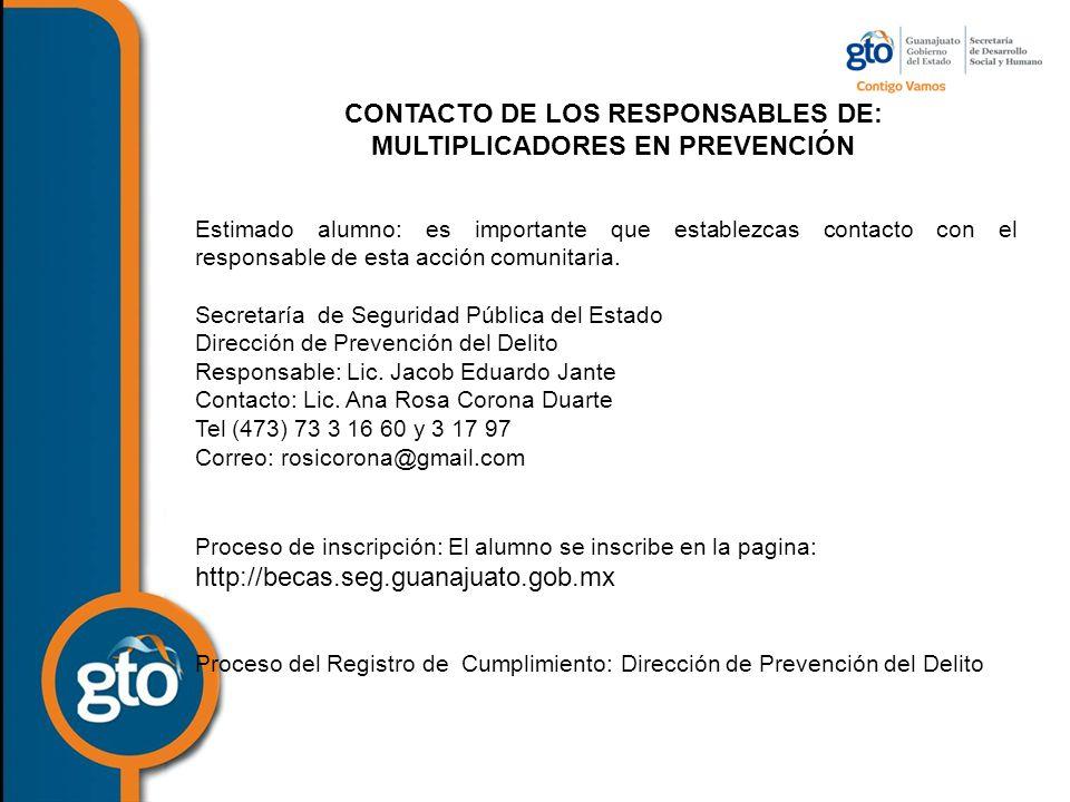 CONTACTO DE LOS RESPONSABLES DE: MULTIPLICADORES EN PREVENCIÓN Estimado alumno: es importante que establezcas contacto con el responsable de esta acción comunitaria.