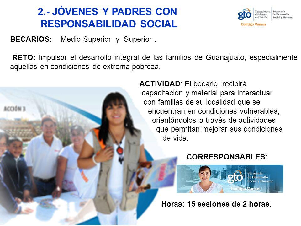 2.- JÓVENES Y PADRES CON RESPONSABILIDAD SOCIAL BECARIOS: Medio Superior y Superior.