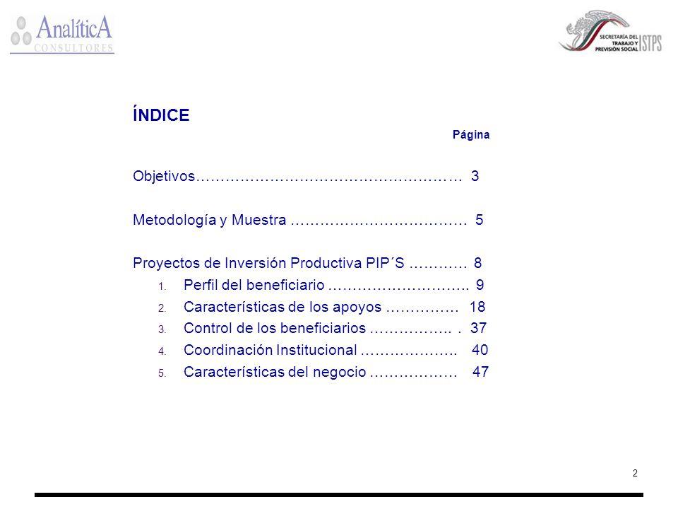 2 ÍNDICE Página Objetivos……………………………………………… 3 Metodología y Muestra ……………………………… 5 Proyectos de Inversión Productiva PIP´S ………… 8 1. Perfil del benefi