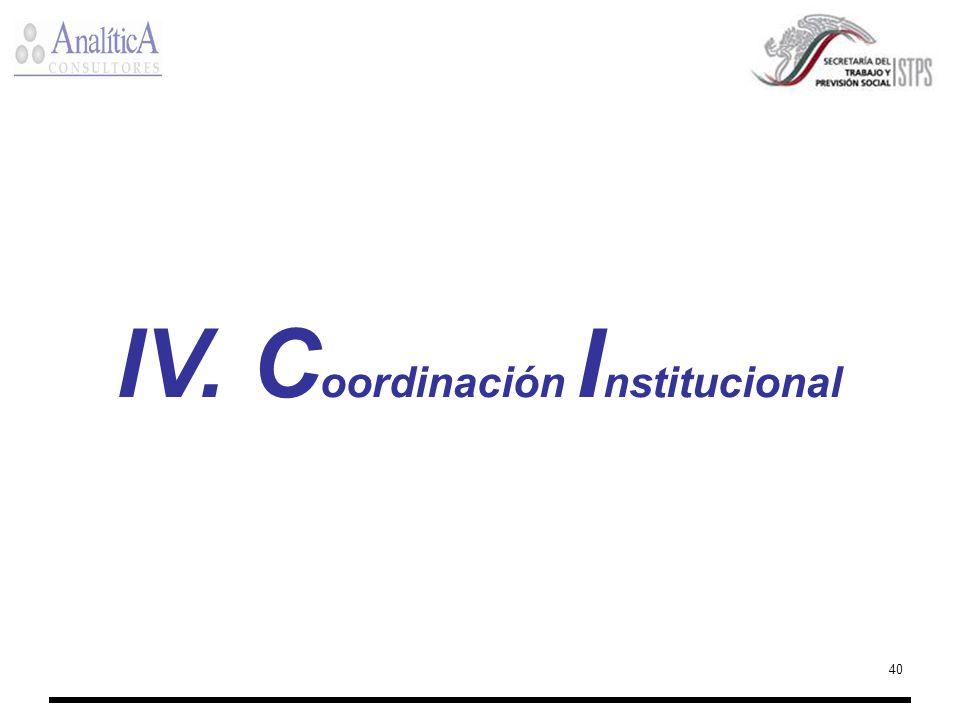 40 IV. C oordinación I nstitucional